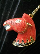 rare Horse Head Pendant Cinnabar Enamel China Cloisonne Emaille Anhänger Pferd