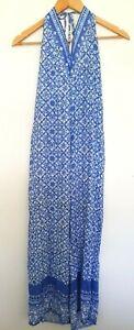 RUSTY Ladies Designer Blue/White Floral Print Sleeveless Jumpsuit size 10 NWT