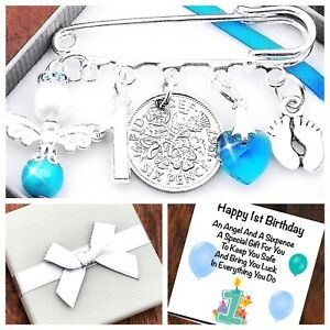 LUCKY SIXPENCE FIRST 1ST BIRTHDAY Gift BOY/GIRL,BABY FEET, GIFT BOX & CARD