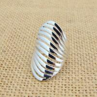 Large Plain 925 Sterling Silver Wave Design Ring Jewellery