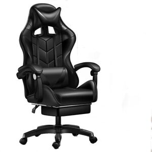 Gaming Chair Swivel Highback Ergonomic Racing Leather Adjust Office Black New