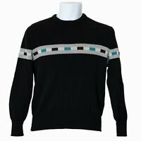Lido Mens Sweater Black Size M Medium 100% Wool Long Sleeve Vintage