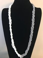 NWT WHITE HOUSE BLACK MARKET Twisted Glass Pearl Necklace Silver