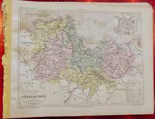 Old Map 1900 France Département Côte du Nord St Brieuc Dinan Paimpol Baie