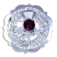 Miracle BROOCH CAP BADGE THISTLE FAUX AMETHYST MADE IN THE UK HIGHLAND KILTWEAR
