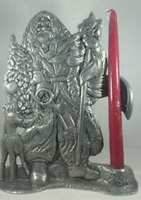 """1993 CARSON PEWTER OLD WORLD WOODLAND SANTA WITH TAPER CANDLE HOLDER 11"""" EXC."""