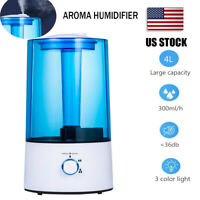 4L Ultrasonic Cool Water Mist Air Diffuser Humidifier LED Night Bedroom Office