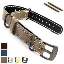 Suede Leather Watch Strap Band Silver Gold PVD Buckle 18 20 22 24 Nato Cayman MM