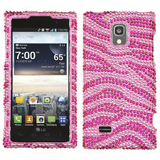 For LG Spectrum 2 VS930 Crystal Diamond BLING Hard Case Phone Cover Pink Zebra