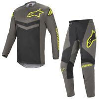 Alpinestars 2021 Adult Fluid Speed Dark Grey Yellow Motocross MX Kit Gear Combo