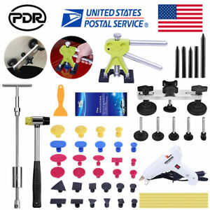 56× PDR Tool Car Body Paintless Hail Removal Dent Puller Lifter T Bar Hammer Kit