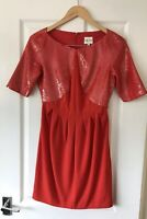 REISS RED PANEL SEQUIN EMBELLISHED DRESS UK 6 EVENING PARTY OCCASION KORI