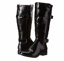 New LIFESTRIDE Rockin Black Patent Wide Calf Knee High Riding  Boots 6.5