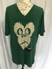 "MARBOO~ Monkey Face T-Shirt Bamboo Blend V Neck ""Costa Rico""Design Green/Tan"