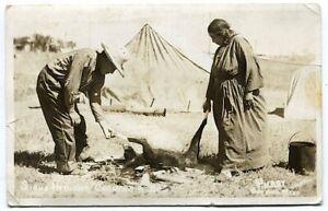 Sioux Indians Cooking a Dog 1924-1949 RPPC Postcard by Purdy Gordon NE Nebraska