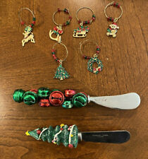 Lot of 2 Christmas spreaders (1 Mudpie) + 6 Vintage Wine-Glass Charms Markers