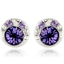 White gold finish tanzanite stud earrings quality ladies jewellery UK seller