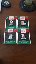 1990 Hallmark Little Frosty Friends- Set of 4 Ornaments + Wreath NIB NEW IN BOX