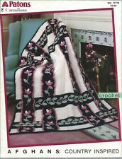 New listing Afghans: Country Inspired ~ 4 Designs Crochet Leaflet Patons #17778 Susan Bates