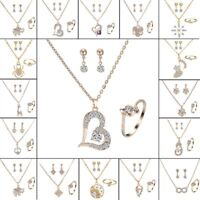 Women Crystal Pearl Pendant Necklace Earrings Ring Wedding Bridal Jewelry Set