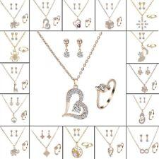 Mujer Aretes Anillo Collar Colgante de Cristal Perla Boda Nupcial Conjunto De Joyería