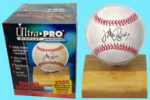 ULTRA PRO LIGHT WOOD BASE BASEBALL DISPLAY NEW Acrylic Case Ball Holder Stand