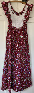 Vintage Young Innocent by Arpeja Maroon Floral Boho Maxi Dress with Eyelet Bib S