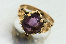 Ladies Antique Victorian 14K 585 Yellow Gold Amethyst Floral Cocktail Ring