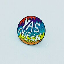 Yas Queen Fun LGBTQ Pride Rainbow Enamel Pin Badges. UK Seller.