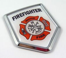Firefighters Flag Car Chrome Emblem Decal bumper Sticker firefighter department
