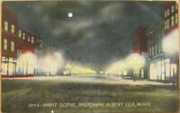1910 Postcard: Broadway, Night-Albert Lea, Minnesota MN