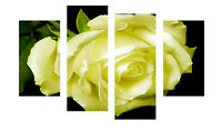 """LARGE YELLOW ROSE FLOWER CANVAS WALL A PICTURES SPLIT MULTI 4 PANEL 40"""" X 28"""""""