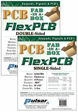 "2 Panels Pulsar Pro FX SINGLE SIDED Copper Clad FLEX PCB FR4 0.005"" 8""x10"" 1/2oz"