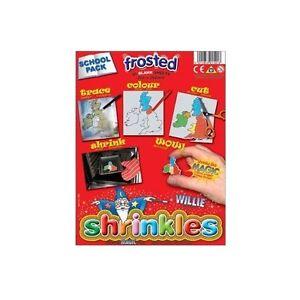 PACK OF 50 SHEETS FROSTED SHRINKLES 13cm x 10cm CHILDREN SCHOOL SHRINK ART 1601