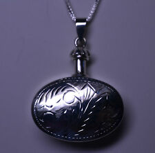 NEW STERLING SILVER 3D OVAL ENGRAVED PERFUME BOTTLE ON 30 INCH BOX CHAIN