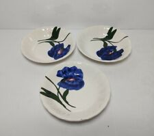Blue Ridge Southern Potteries Hand Painted Blue Flowers Dessert/ Berry Bowls (3)