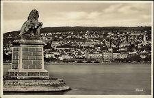 Zürich Ansichtskarte 1933 gelaufen Teilansicht Blick über den See Löwen Statue
