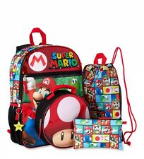 Nintendo Super Mario 5-Piece Backpack Lunch Bag Set Back to School Fast Shipping