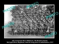OLD LARGE HISTORIC PHOTO OF AUSTRALIAN ANZACS, THE 9th LIGHT HORSE REGIMENT 1915
