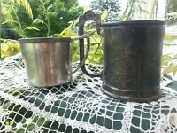 ORNATE !lot 2 Antique Silverplate Children's cups kitty scene embossed Victorian