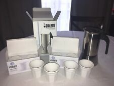 New Bialetti Lot 6 Cup Venus Stovetop Espresso Maker, 4 Bicchierini Crinkle Cups