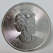1 Troy oz .9999 Fine Silver Bullion 2016 Canadian Maple Leaf $5 circulated AU019