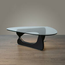 Inspired Isamu Noguchi Black Coffee Table Side End Table with Glass Living Room