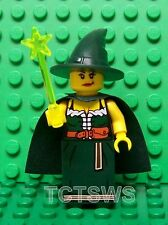 Lego Minifigures ~ Witch w/ Hat, Cape, Green Dress, Dual Face & Neon Wand NEW