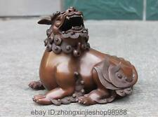 China Emperor Pure Red Copper Bronze Fu Foo Dog Lion Royal Incense Burner Censer