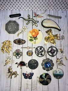 Vintage Jewellery Job Lot Of Mixed Era Costume Brooch Pins #2