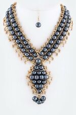 Dark Navy Blue Gold Pearls Oversized Statement Necklace Earring Set