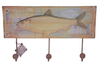 Nautical Fish Coat Robe Hooks Rack Holder Plaque Fisherman Fishing Gift SG1268