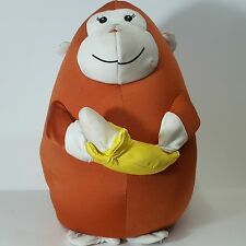 "Moshi Microbead pillow Plush doll  Monkey with banana  12"" chimp brown"