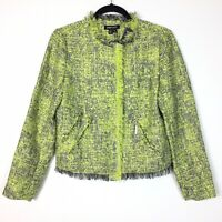 Paperwhite 2 Green Tweed Fringe Crop Moto Jacket Career Work NEW $328 Womens